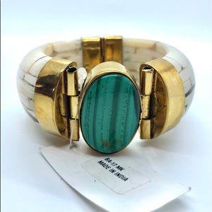 Jewelry - Turquoise Brass Stone Hinged Bracelet